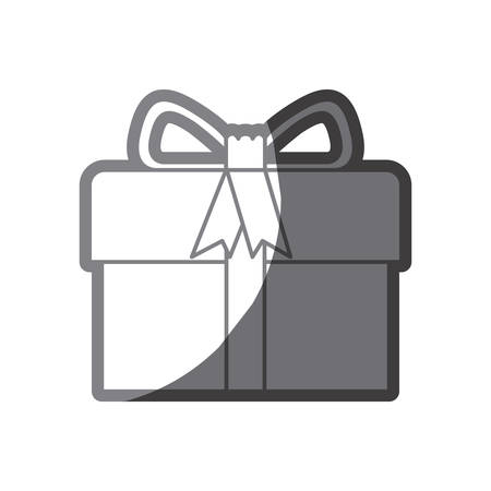 grayscale silhouette of gift box with decorative ribbon and topknot vector illustration Illustration
