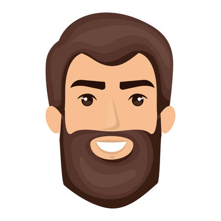 white background of smiling man face with dark brown hair and long beard vector illustration