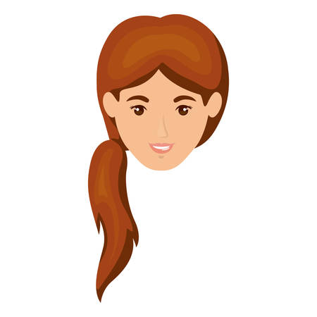 long hair model: white background of smiling woman face with ponytail hairstyle in brown vector illustration Illustration
