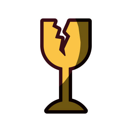 white background with fragile packaging symbol broken wine glass with thick contour vector illustration Illustration