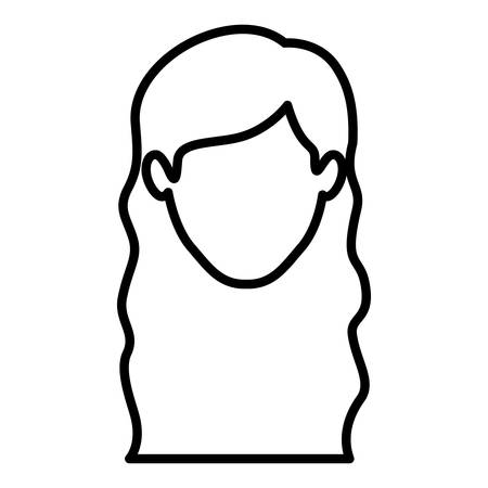 monochrome contour of faceless woman with wavy long hair vector illustration