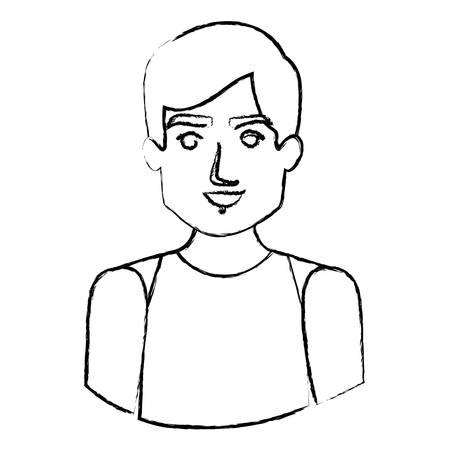 monochrome blurred contour with half body of male dancer vector illustration