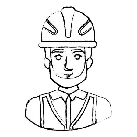 monochrome blurred contour with half body of male bearded architect with helmet vector illustration Illustration