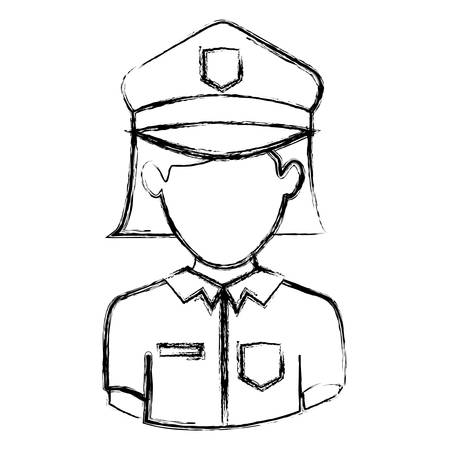 gun control: monochrome blurred contour with half body of faceless policewoman vector illustration