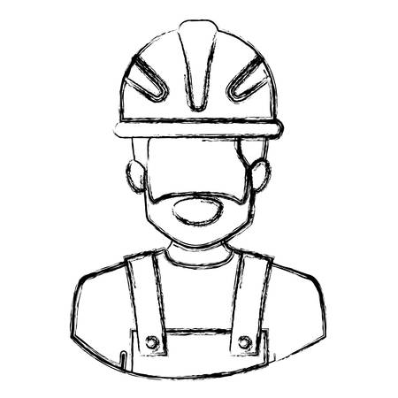 monochrome blurred contour with half body of faceless bearded male worker with helmet vector illustration Illustration