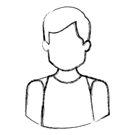 monochrome blurred contour with half body of faceless male dancer vector illustration