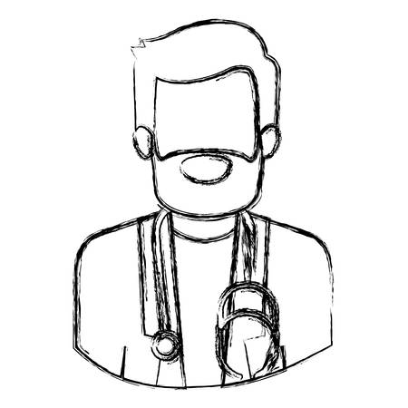 monochrome blurred contour with half body of faceless bearded doctor vector illustration