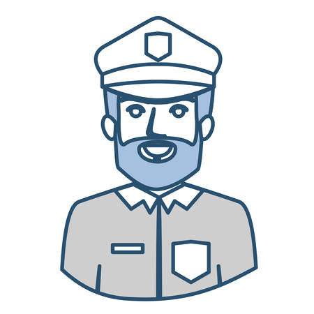 blue silhouette with half body of bearded policeman vector illustration Illustration
