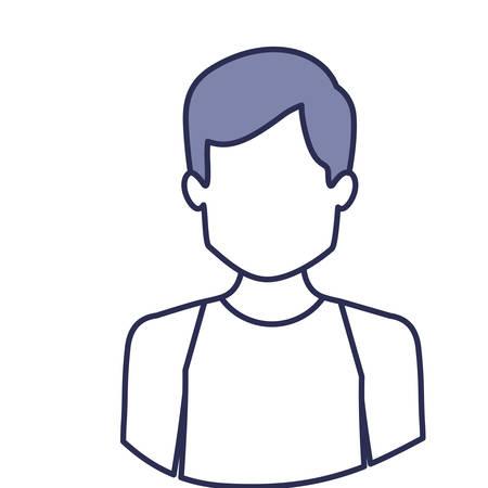blue contour of half body of faceless male dancer vector illustration