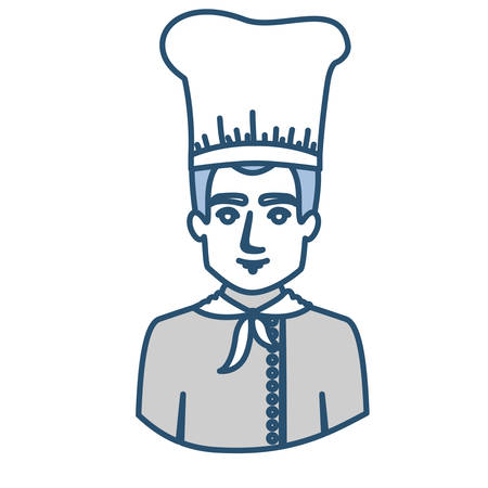 blue silhouette with half body of male chef vector illustration
