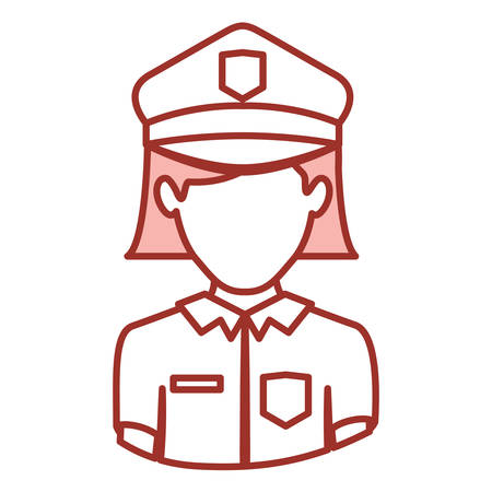 red contour of half body of faceless policewoman vector illustration Illustration