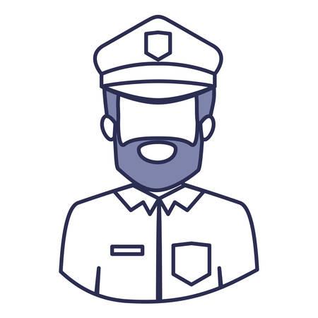 gun control: blue contour of half body of faceless bearded policeman vector illustration