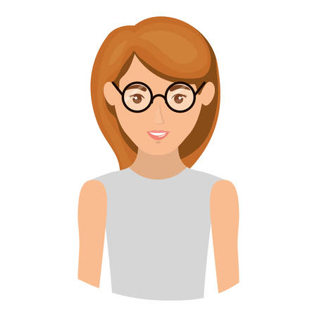 colorful portrait half body of woman with glasses and sleeveless shirt vector illustration Illustration