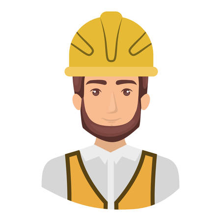 colorful portrait half body of male bearded architect with helmet vector illustration Vectores