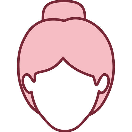 pink silhouette of faceless woman with collected hair vector illustration