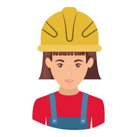 labourer: colorful portrait half body of female worker with helmet vector illustration Illustration