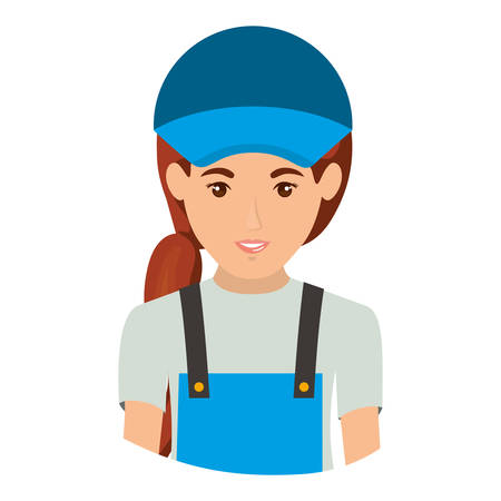 colorful portrait half body of delivery woman vector illustration