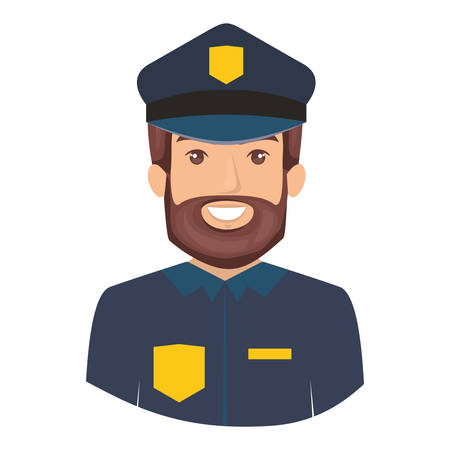 colorful portrait half body of bearded policeman vector illustration Illustration