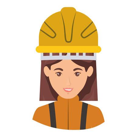 emergency stair: colorful portrait half body of female firefighter vector illustration Illustration