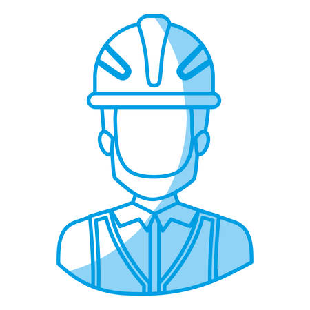 blue silhouette with half body of faceless male bearded architect with helmet vector illustration Illustration