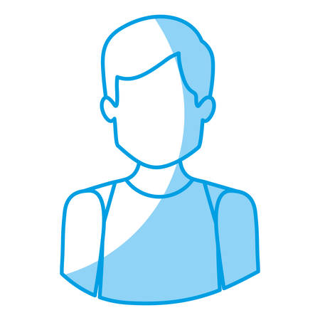 blue silhouette with half body of faceless male dancer vector illustration
