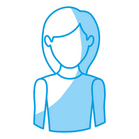 blue silhouette with half body of faceless woman with sleeveless shirt vector illustration Illustration