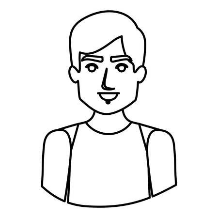 monochrome contour half body of male dancer vector illustration Illustration