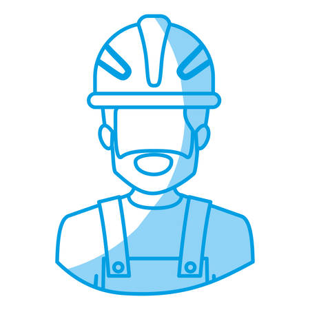 blue silhouette with half body of faceless bearded male worker with helmet vector illustration Illustration