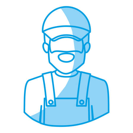 blue silhouette with half body of faceless bearded delivery man vector illustration Illustration
