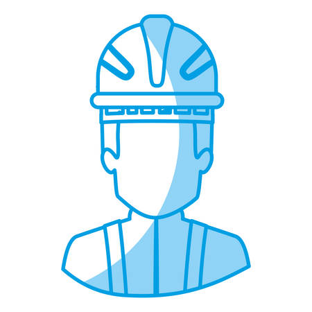emergency stair: blue silhouette with half body of faceless firefighter vector illustration