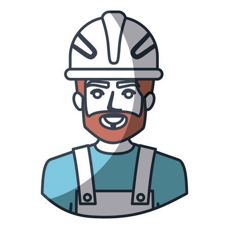 color silhouette and thick contour of half body of bearded male worker with helmet vector illustration Illustration