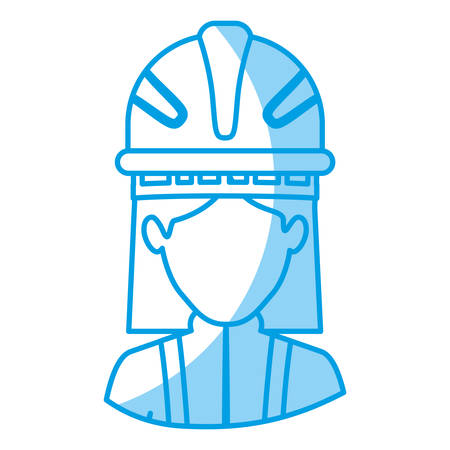 emergency stair: blue silhouette with half body of faceless female firefighter vector illustration