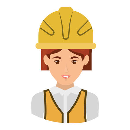 colorful portrait half body of female architect with helmet vector illustration
