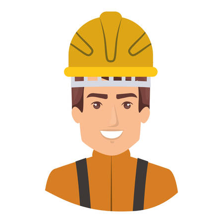 emergency stair: colorful portrait of half body firefighter vector illustration