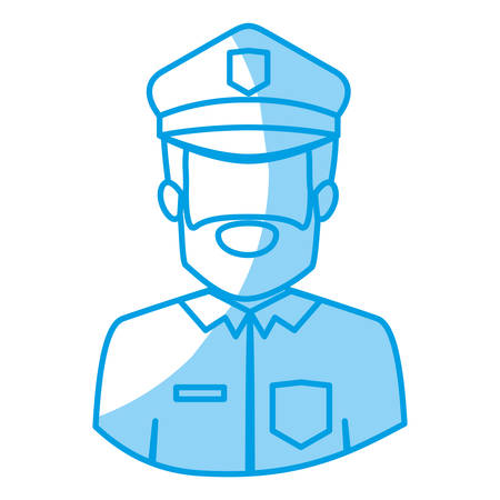 gun control: blue silhouette with half body of faceless bearded policeman vector illustration Illustration