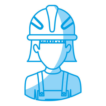 blue silhouette with half body of faceless female worker with helmet vector illustration Illustration