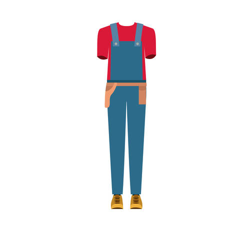 colorful silhouette with male uniform of worker vector illustration