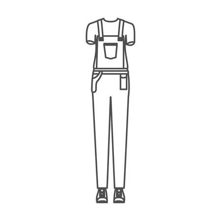 monochrome silhouette of female uniform of worker vector illustration Vetores
