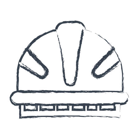 emergency stair: monochrome blurred silhouette of helmet of firefighter vector illustration