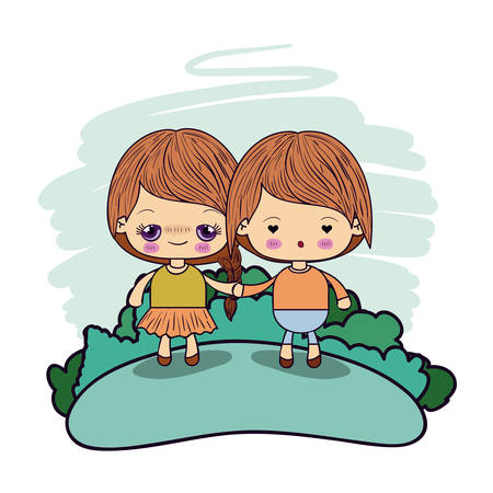 anime young: color picture couple kawaii kids taken hands in forest vector illustration