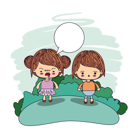 color picture couple kawaii wink girl collected hair with dialogue box and boy surprised vector illustration Illustration