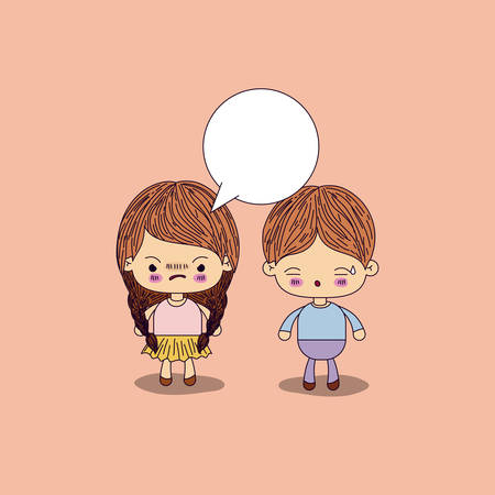 beige color background angry girl braids hair with dialogue box and boy worried vector illustration Illustration