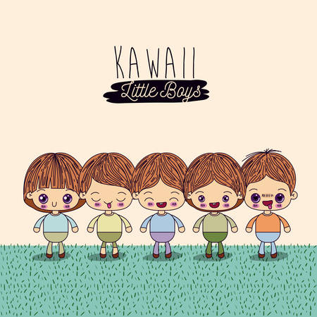 light yellow background set four cute full body kawaii little boys in grass vector illustration