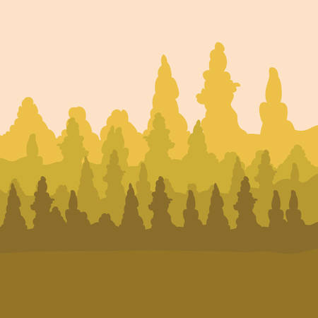 sepia design of mountains and forest landscape vector illustration Illustration