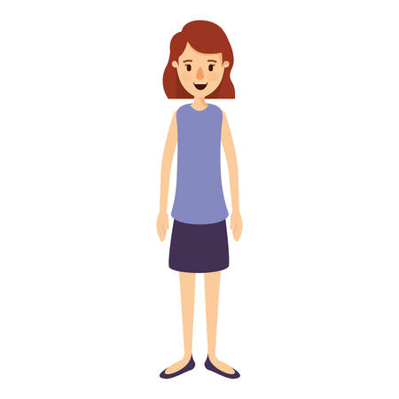 colorful image caricature full body woman with short hair in skirt vector illustration Illustration