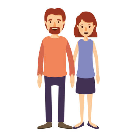 colorful image caricature full body couple woman with wavy short hair in skirt and man in casual clothing vector illustration