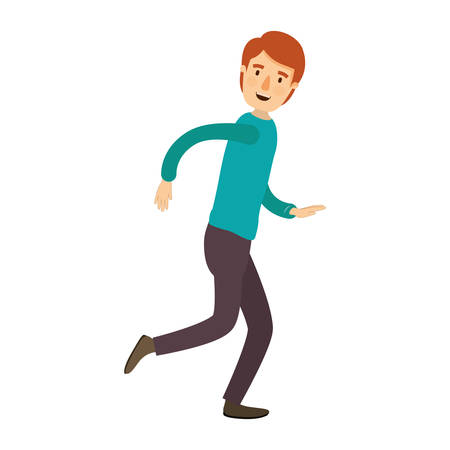 running nose: colorful image caricature full body guy with hairstyle running vector illustration
