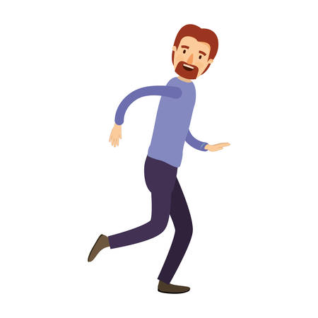 running nose: colorful image caricature full body male person with beard and moustache running vector illustration Illustration
