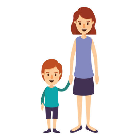 colorful image caricature full body mother taken hand with boy vector illustration