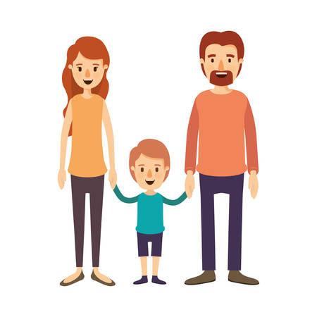 colorful image caricature family with parents and little boy taken hands vector illustration